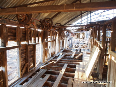 Inside the old shearing shed