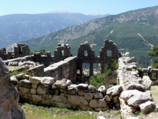 Ruins of city of Arykanda, built on steep mountain slopes
