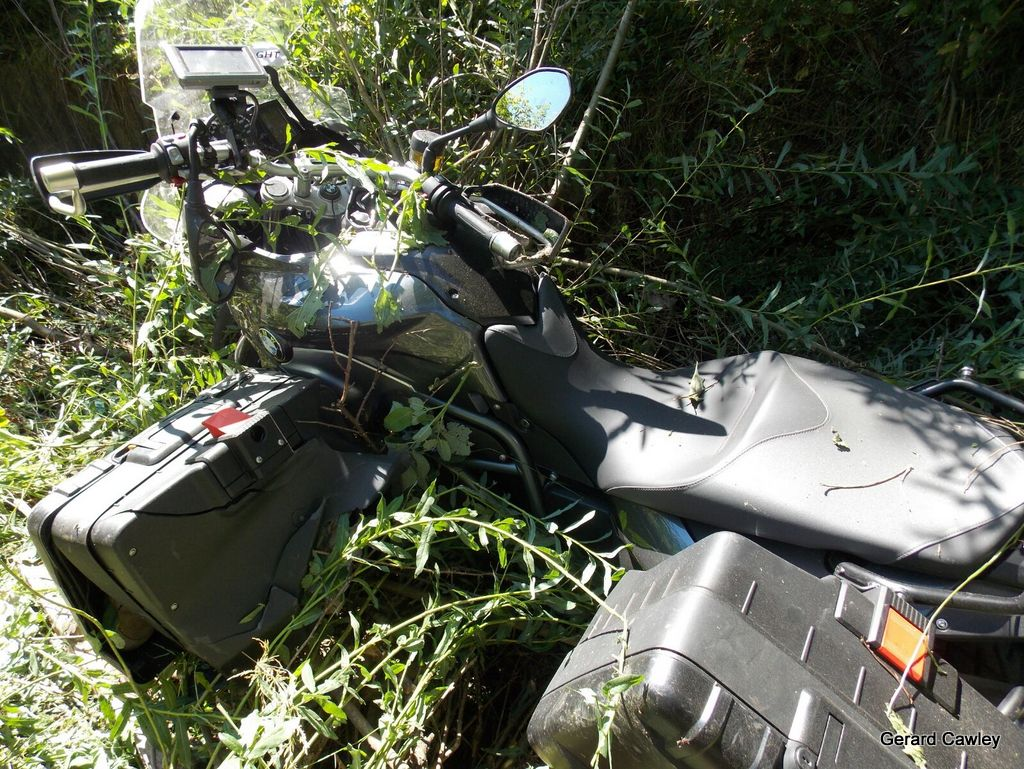My bike in the ditch