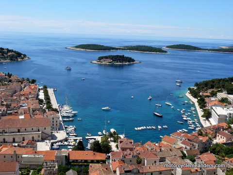 Hvar town and harbour from the fort