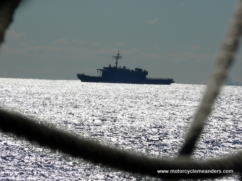 Naval vessel checks us out from safe distance