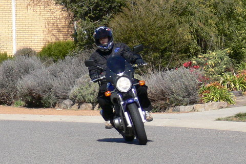 Natalie on the GS500