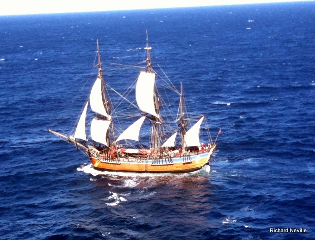 Endeavour on our first day at sea (from passing helicopter)