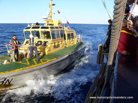 Pilot boat approaches for transfer
