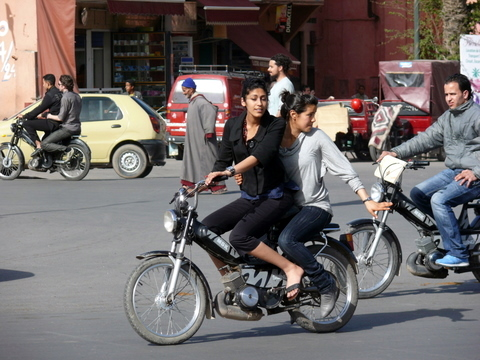 Some of the motorbike traffic in Marrakech