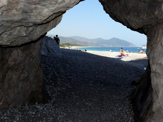 Looking onto the beach from the ruins of Olympos