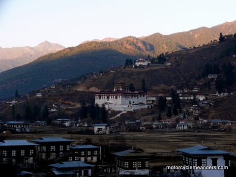 Paro Dzong with watch tower up the hill